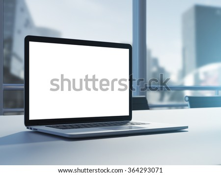 Empty laptop on table in modern clear office. 3d rendering - stock photo