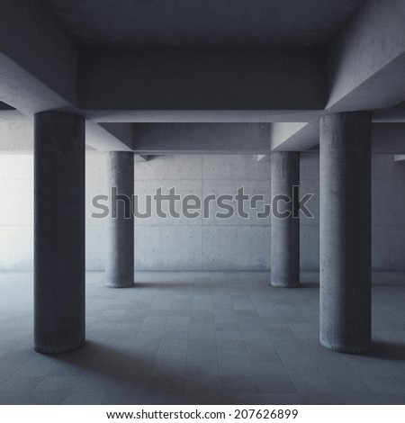 Empty large concrete hall with columns - stock photo