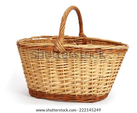 Empty large wicker basket isolated on white background - stock photo