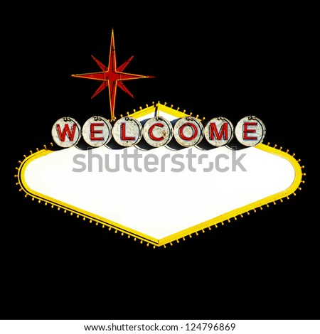 Empty Las Vegas Sign on Black background - stock photo
