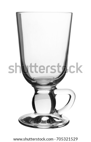 Empty latte glass isolated on white background