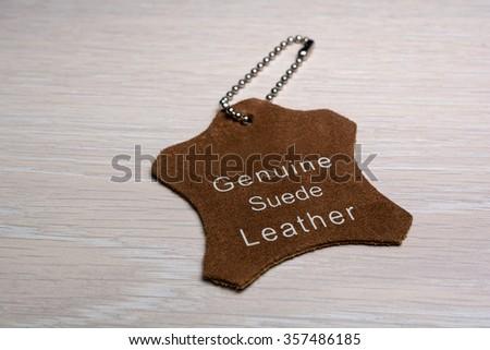 Empty leather label - stock photo