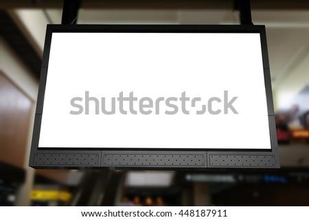 empty led billboard at indoor building - stock photo