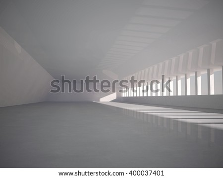 empty light big hall 3D rendering
