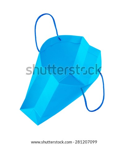 empty light blue gift bag falls through the air on an isolated white background - stock photo