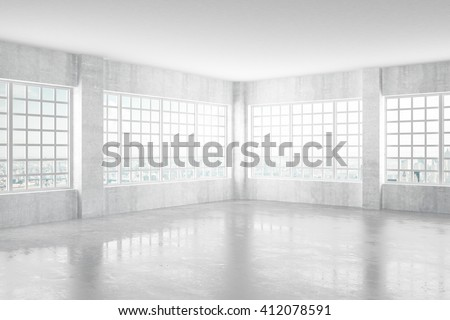 Empty light concrete room with windows and city view, 3D Rendering - stock photo