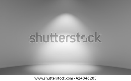 Empty light interior for exhibition. Gray room abstract background. 3D illustration - stock photo