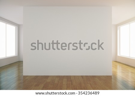 Empty light room with blank white wall in the center, mock up 3D Render - stock photo