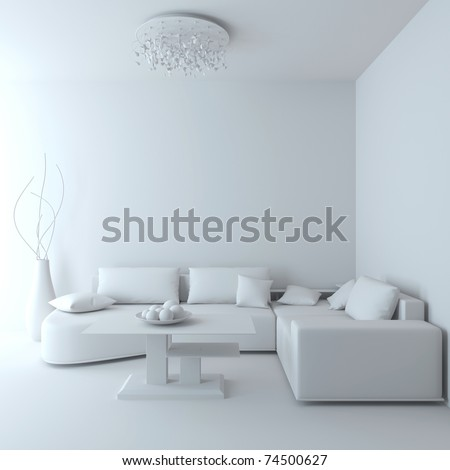 Empty Living room. Angular sofa, dinner-wagon, chandelier, vase. - stock photo