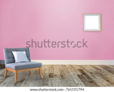 Empty Living Room Interior Decoration Wooden Stock Illustration ...