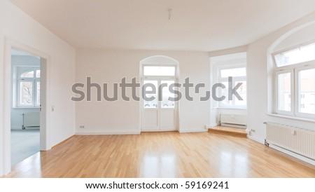 empty living room of a loft like flat - stock photo