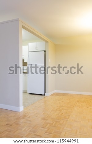 Empty Living Room with kitchen  in a new apartment