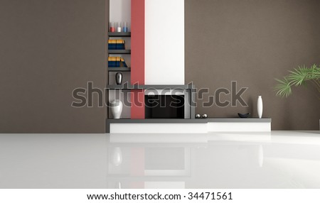 empty living room with modern fireplace - rendering - stock photo