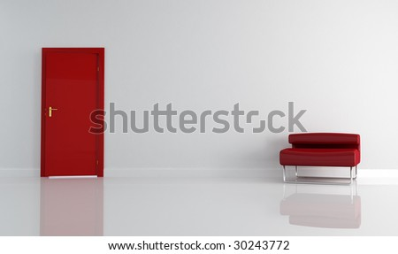 empty living room with red door and armchair - stock photo
