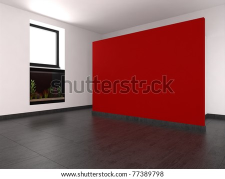 empty living room with red wall and aquarium - stock photo