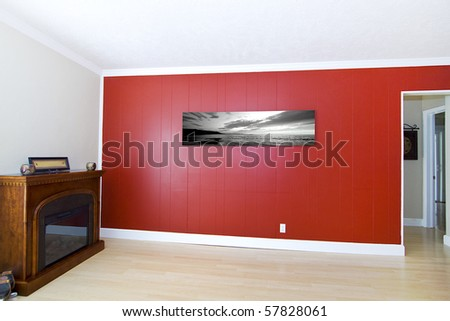 "Empty Living Room with ""Sunset on the Beach"" picture by the photographer - stock photo"