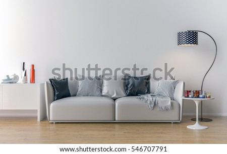 Empty Living Room With White Wall In The Background. 3D Illustration Part 94