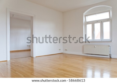 empty living room with window and door - stock photo