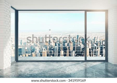 Empty loft room with big window in floor and city view 3D Render - stock photo