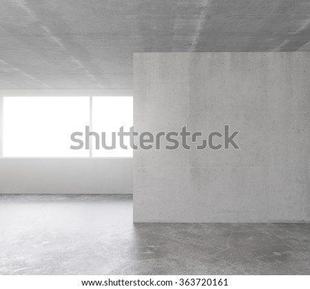 Empty loft room with concrete floor and ceiling and concrete wall in the middle 3D Render - stock photo