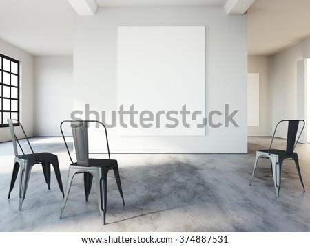 Empty loft space, mockup for presentation and advertising, white poster on wall. Concrete floor and black chairs near wall. 3d rendering - stock photo