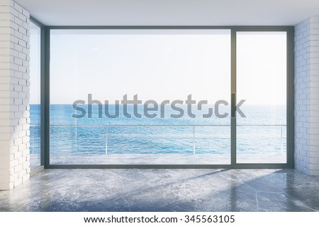 Empty loft style with concrete floor and ocean view 3D Render - stock photo