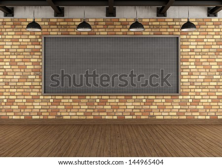 Empty loft with large blackboard squared against brick wall - rendering