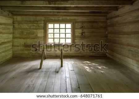 Empty Log Cabin Interior Interior Historic Stock
