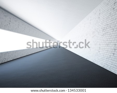 Empty long corridor with a big window - stock photo