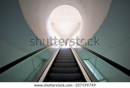 Empty long escalator. - stock photo