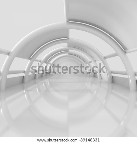 Empty Long Room - 3d illustration - stock photo