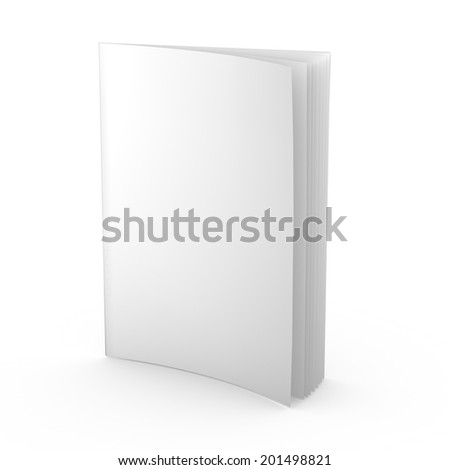 empty magazine, newspaper, leaflet or any publication isolated standing 3d illustration blank template for presentation purposes - stock photo
