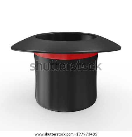 Empty Magic Hat with Red Ribbon isolated on white background