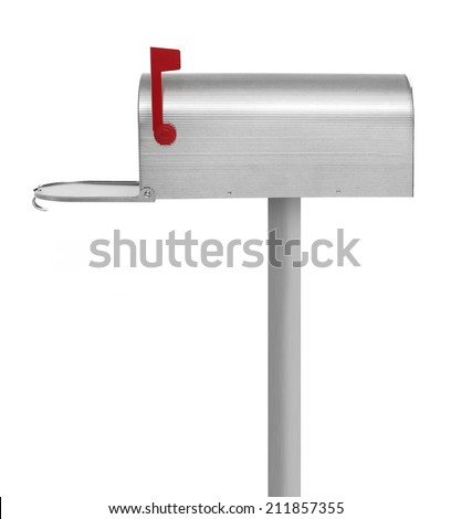 Empty mailbox Metallic mailbox on white background - stock photo