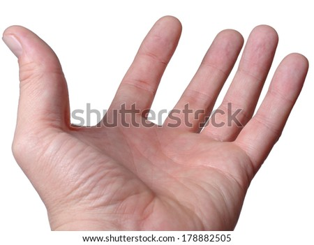 Empty male hand, palm upwards with outstretched fingers as though begging or asking for help, isolated on white close up view from the wrist - stock photo