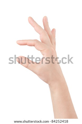 empty man hand on white background - stock photo