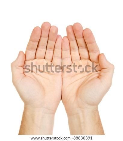Empty man hands isolated on white background - stock photo