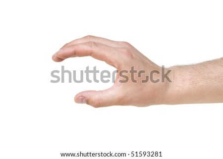 Empty man's hand isolated on white