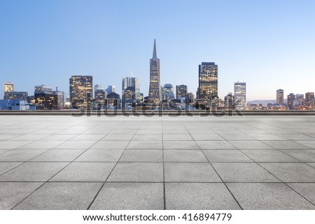 empty marble floor with cityscape and skyline of san francisco - stock photo