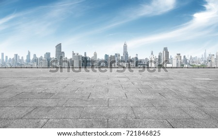 empty marble floor with cityscape of shanghai