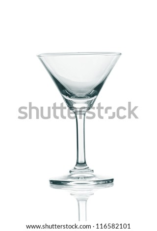 Empty martini glass isolated on the white background