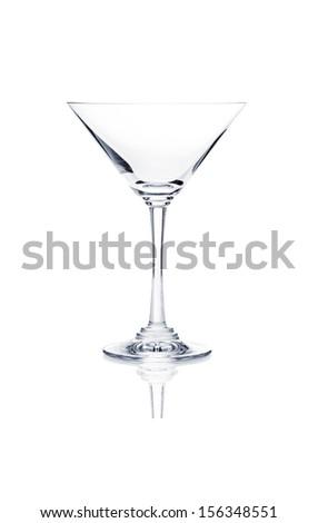 Empty martini glass isolated on white background - stock photo
