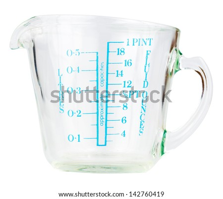 Empty measuring cup isolated on white with clipping path - stock photo