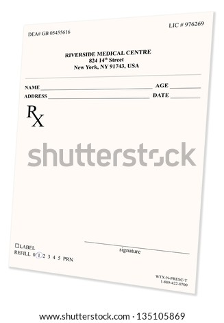 Empty medical prescription isolated on white background