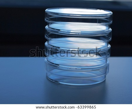 Empty medical test plates in a column - stock photo
