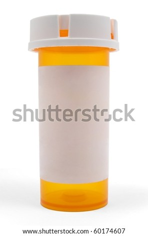 Empty Medicine Bottle with a blank white label - stock photo