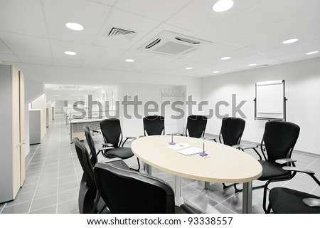 Empty meeting room in the bank office - stock photo