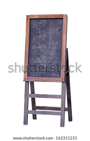 Empty menu board stand sign isolated on white with clipping path - stock photo