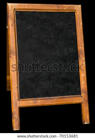 Empty menu board stand sign isolated over black.