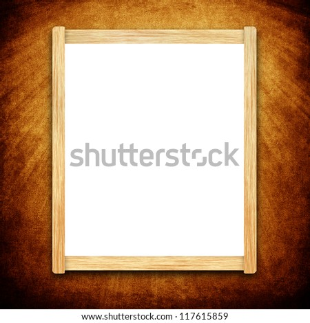 Empty menu board with wooden frame on grunge background - stock photo
